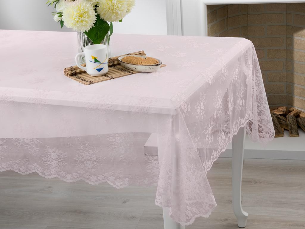 Cherry Blossom Örme Masa Örtüsü 180x270 Cm Pembe