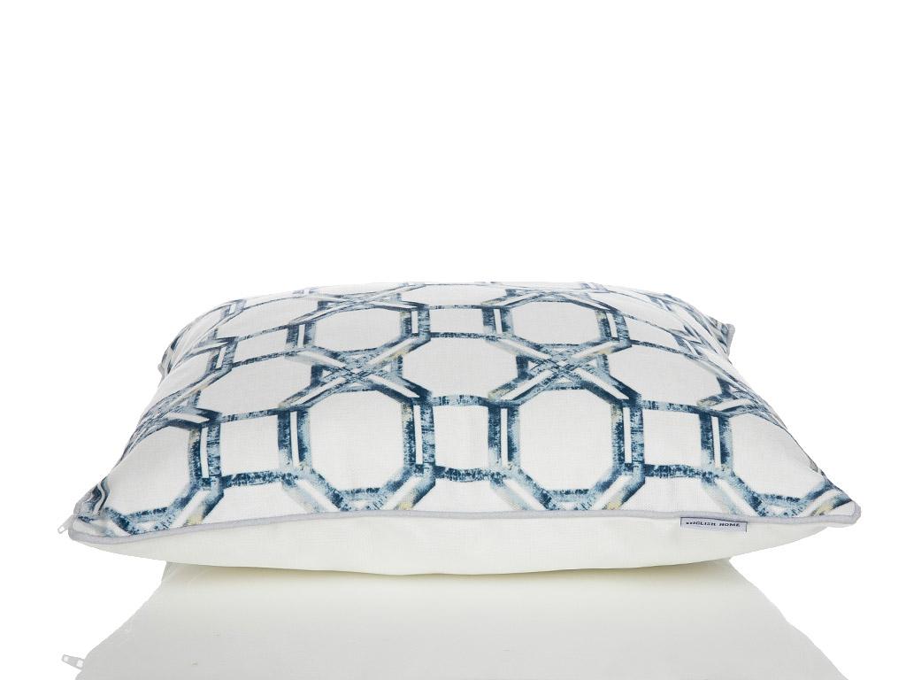 Adelmo Dijital Baskı Kırlent 45x45 Cm Beyaz - Mavi