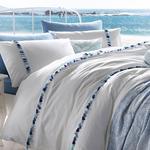 Wave Tassels Pamuklu Tek Kişilik Püsküllü Nevresım 160x220 Cm Mavi