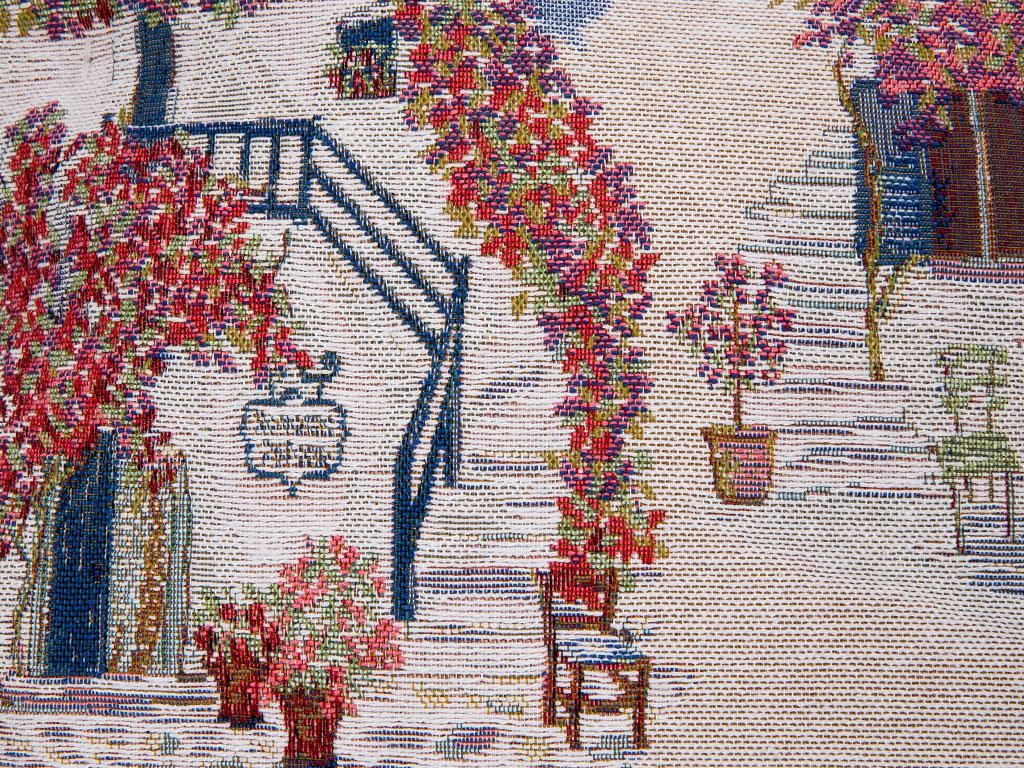 Greek House Goblen Kırlent 45x45 Cm Mavi