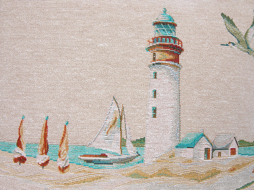 Lighthouse Beach Goblen Kırlent 45x45 Cm Mavi