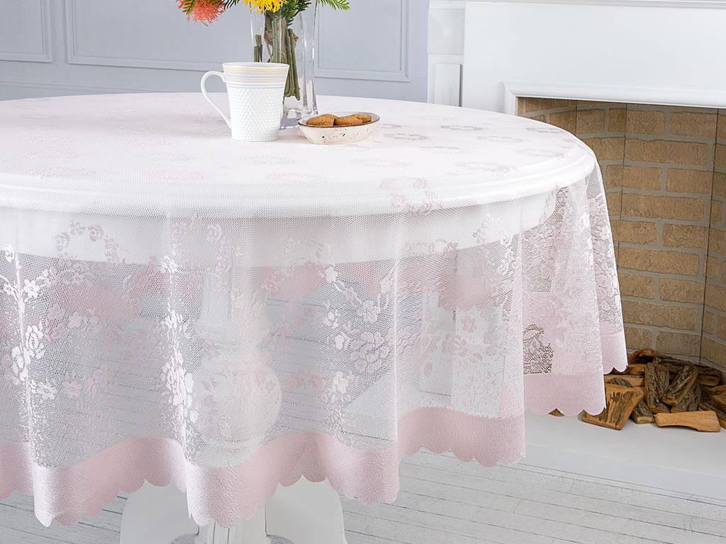 Rose Garden Örme Masa Örtüsü 180 Cm Pembe