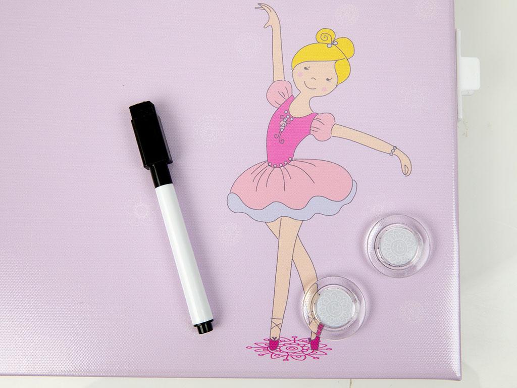 Miss Ballerina Kalem Ve Magnetli Tablo 30x2.5x30cm Lila