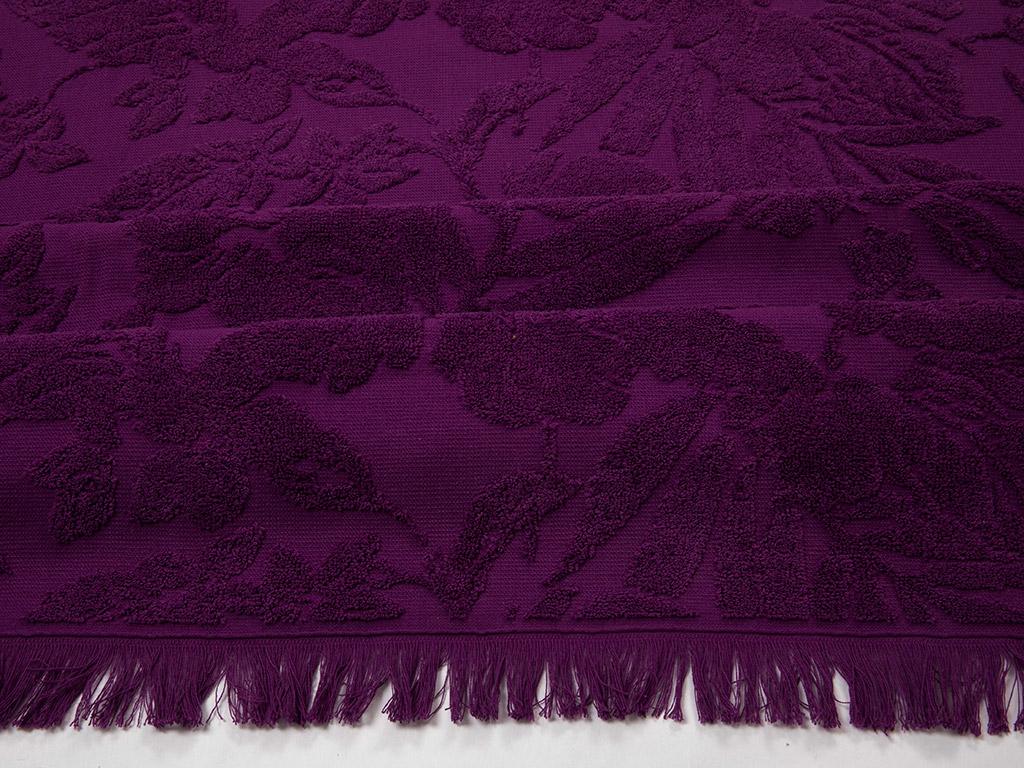 Purple Jakarlı Plaj Havlusu 80x150 Cm Mor
