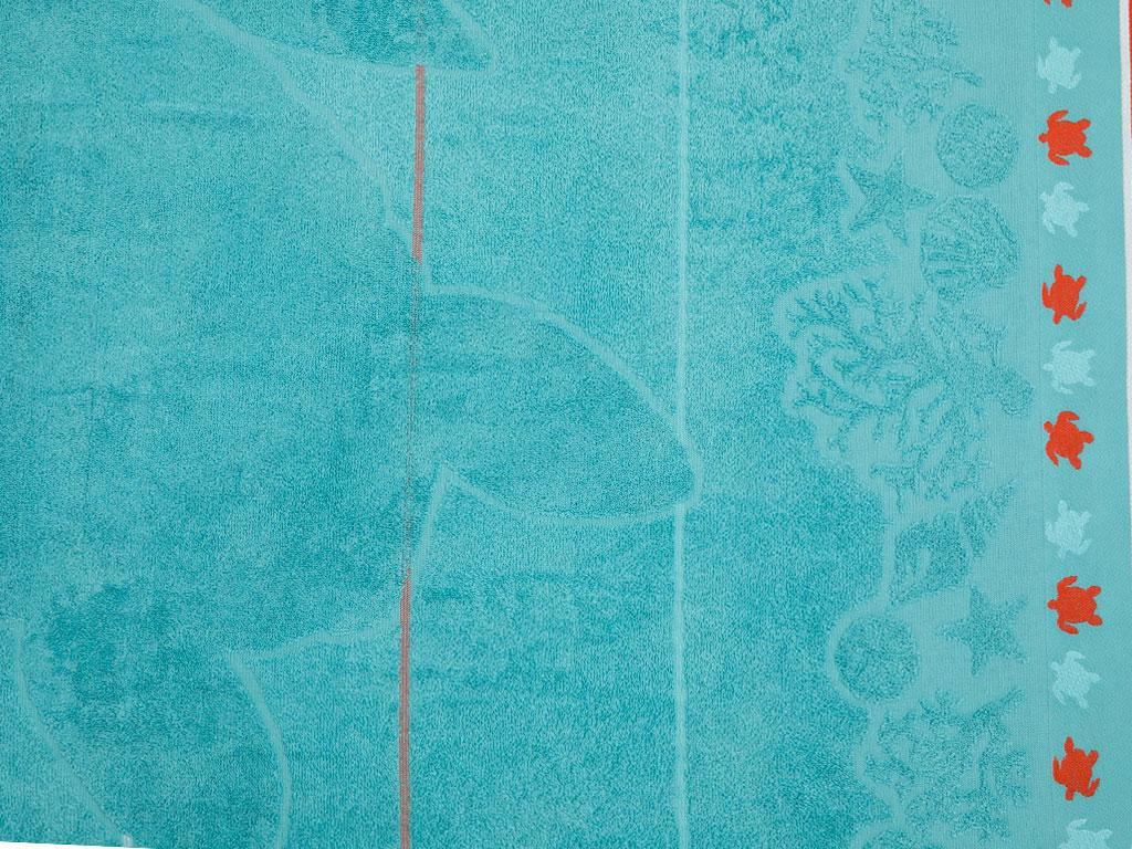 Turtle Jakarlı Plaj Havlusu 80x150 Cm Yeşil