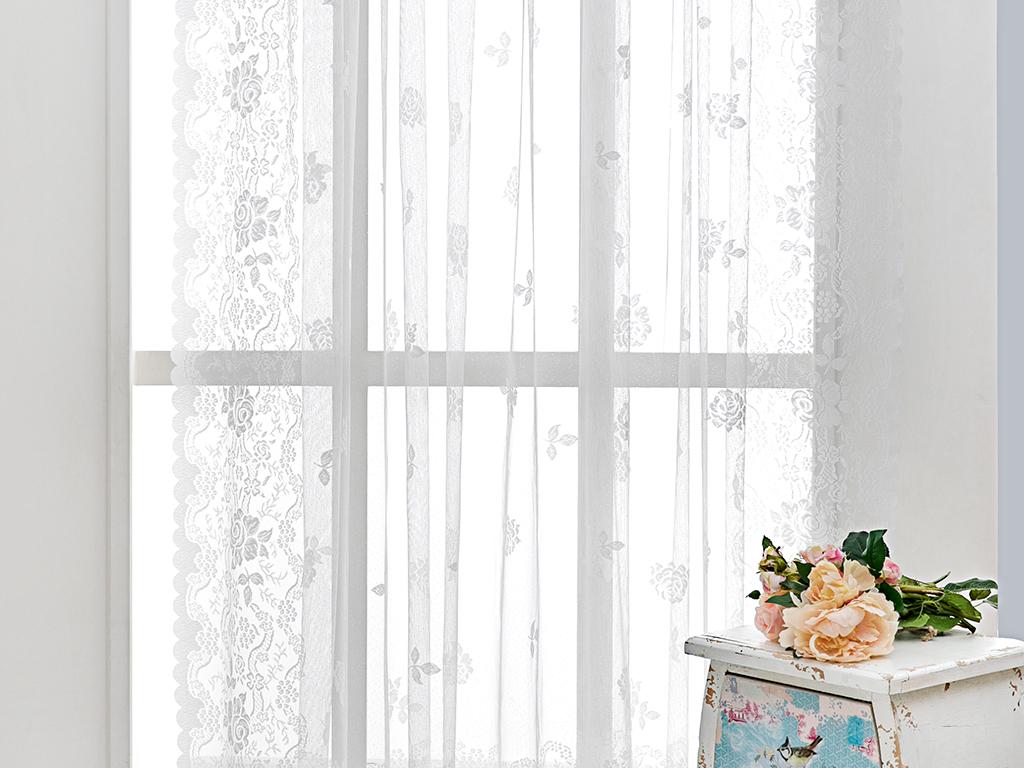 Tiny Roses Örme Tül Perde 265x265 Cm Açık Krem
