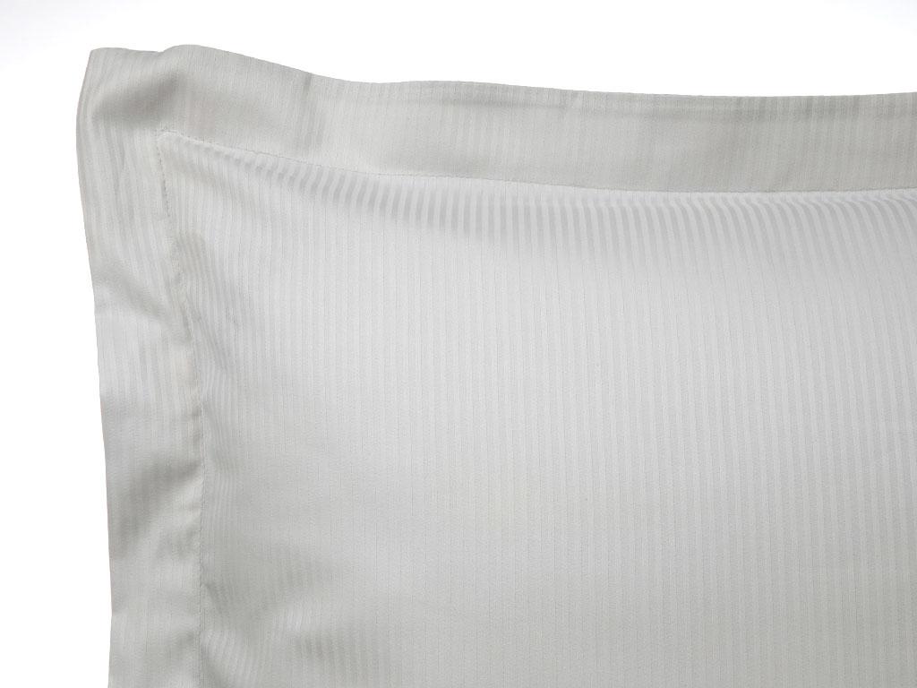 Thin Stripe Çizgili Pamuk Saten Çift Kişilik Nevresim Takımı 200x220 Cm Gri