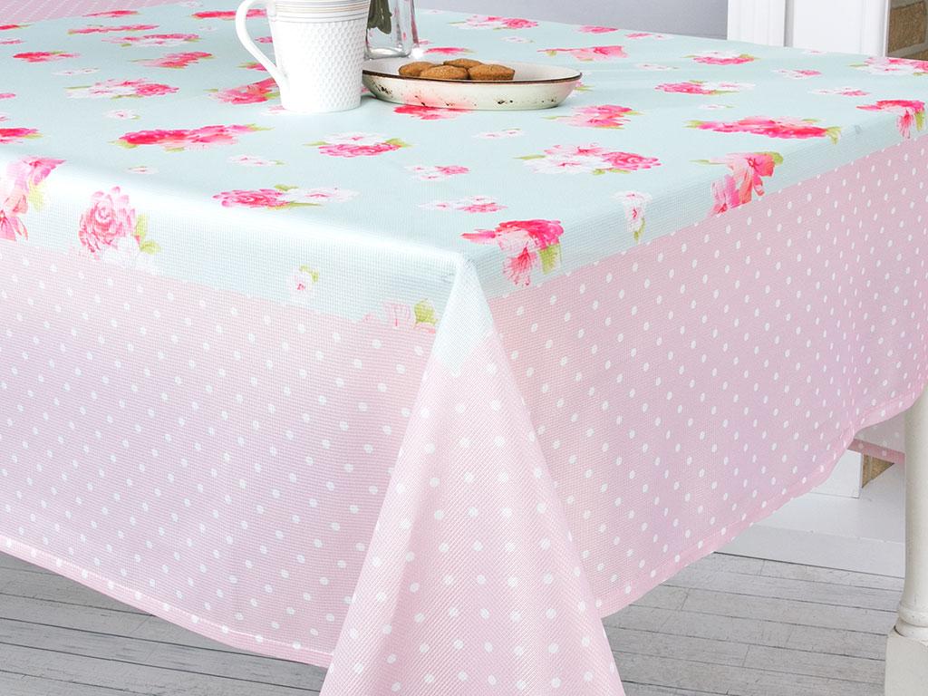 Dreamy Roses Baskılı Rashel Baskılı Masa Örtüsü 150x150 Cm Pembe - Mint