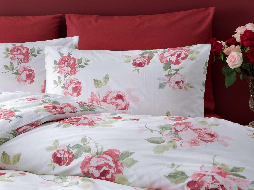 Georgeous Rose Pamuklu Çift Kişilik Nevresim 200x220 Cm Kırmızı