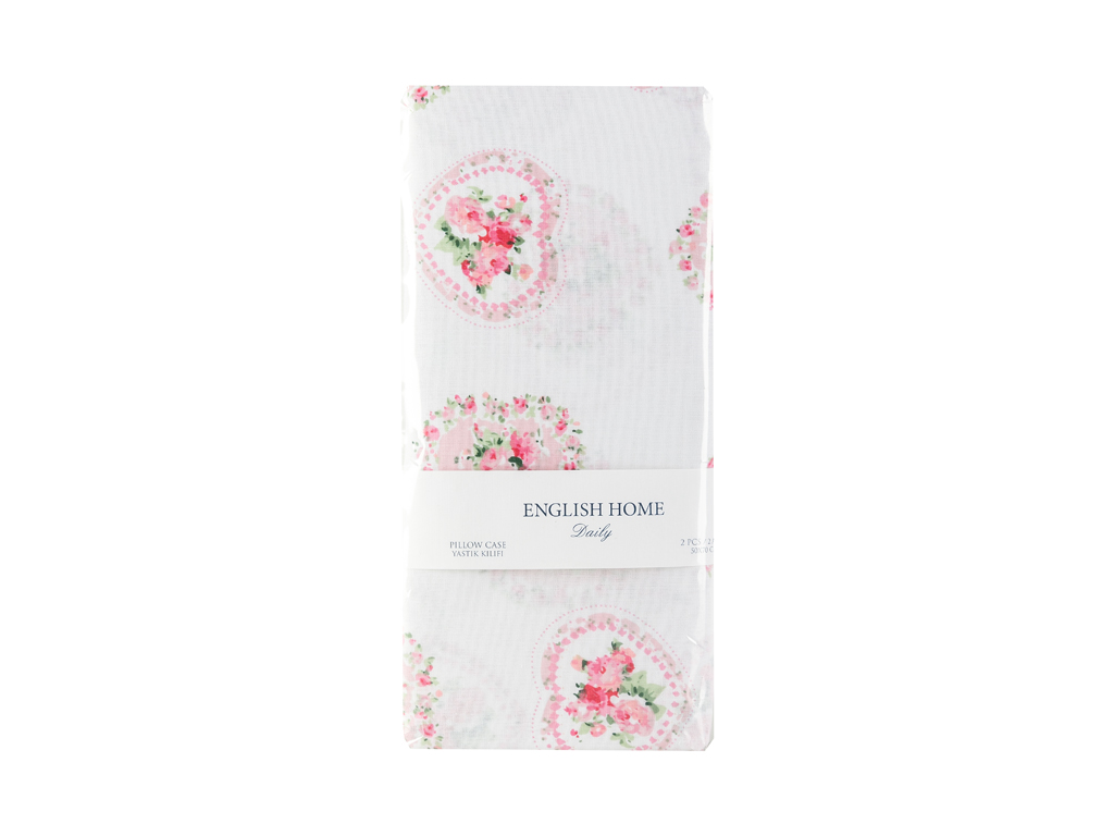 Rose Passion Pamuklu 2'li Yastık Kılıfı 50x70 Cm Pembe