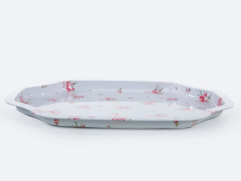 Ribbon Rose Metal Sekizgen Tepsi 27,8x33,2 Cm Beyaz