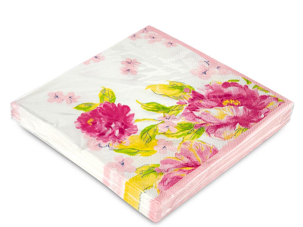 Pink Rose Kağıt 22 Adet Kağıt Peçete 33x33 Cm Pembe