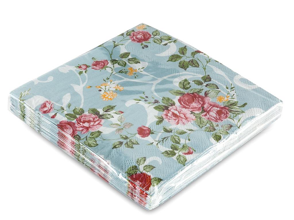 Flowers Kağıt 22 Adet Kağıt Peçete 33x33 Cm Mavi