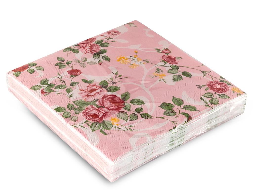Flowers Kağıt 22 Adet Kağıt Peçete 33x33 Cm Krem