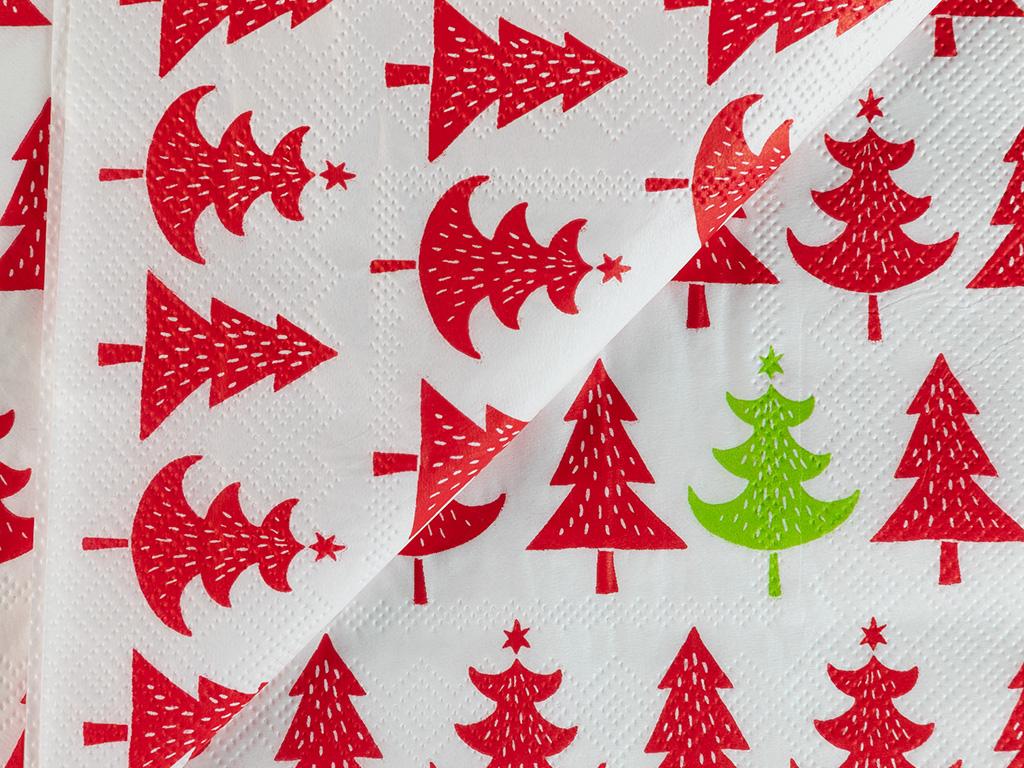 Christmas Tree Kağıt 22 Adet Kağıt Peçete 33x33 Cm Kırmızı - Yeşil