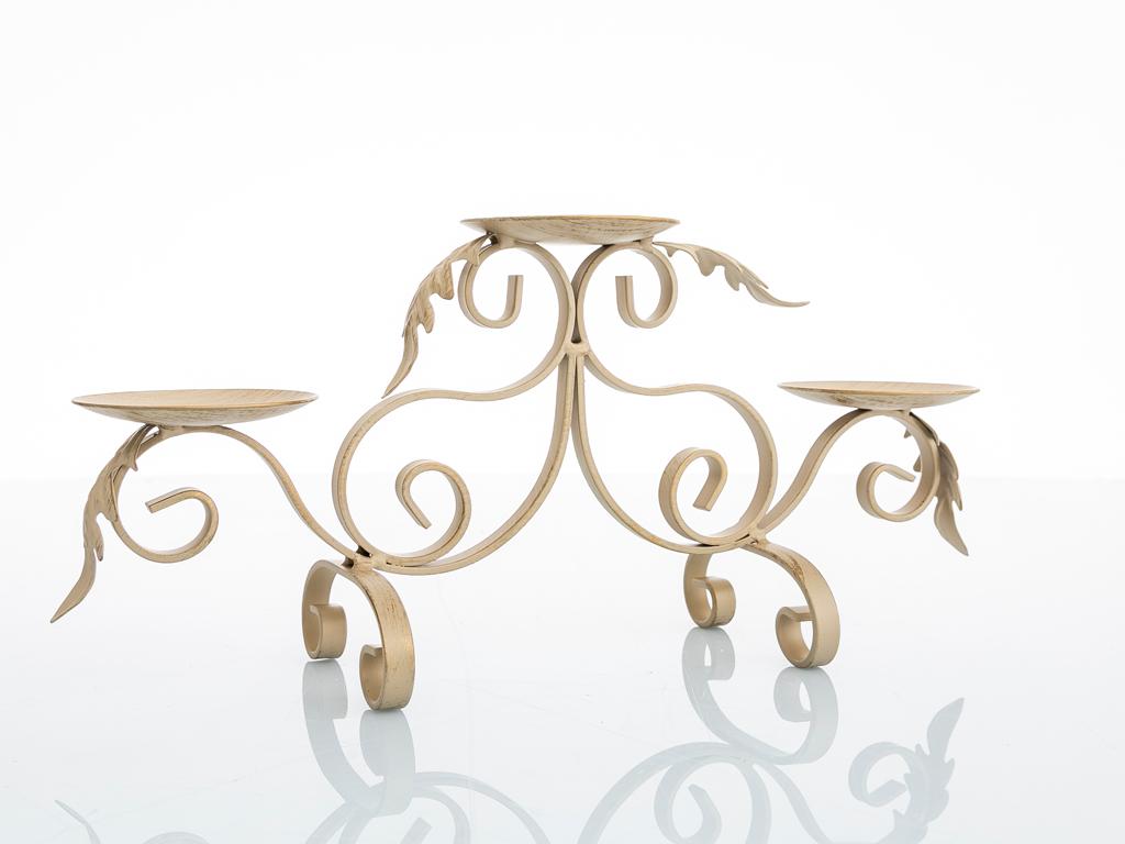 Luxury Ferforje 3'lü Mumluk 37x11x18,5 Cm Gold