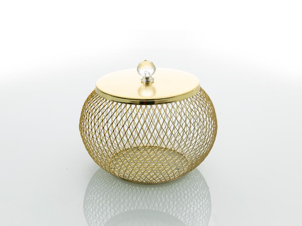 Tiara Ferforje Dekoratıf Kutu 14x14x11,5 Cm Gold
