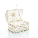 Vintage Luxury Ferforje Dekoratıf Kutu 12,5x8,5x10 Cm Krem
