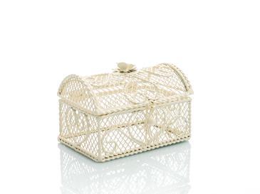 Vintage Luxury Ferforje Dekoratif Kutu 12,5x8,5x10 Cm Krem