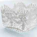 Paisley Flower Tığ İşi Sepet 13x13x9,5 Cm Beyaz