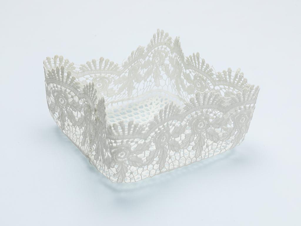 Paisley Flower Tığ İşi Sepet 20x20x9,5 Cm Beyaz