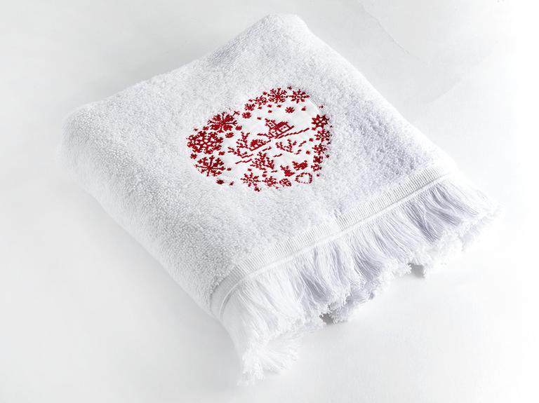 Winter Romance Nakışlı Yüz Havlusu 50x80 Cm Beyaz