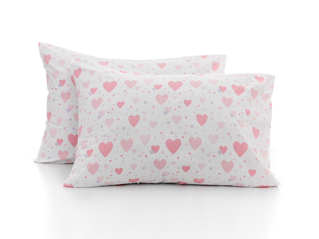 Love Pamuklu 2'li Çocuk Yastık Kılıfı 50x70 Cm Pembe