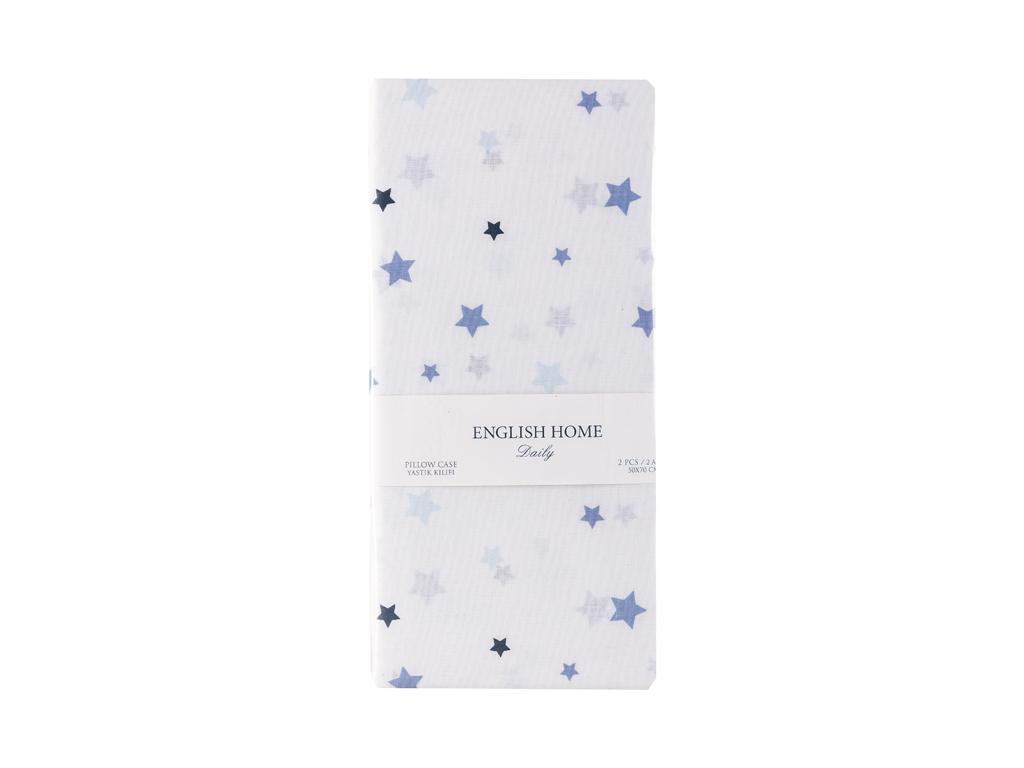 Starlit Pamuklu 2'li Çocuk Yastık Kılıfı 50x70 Cm Mavi