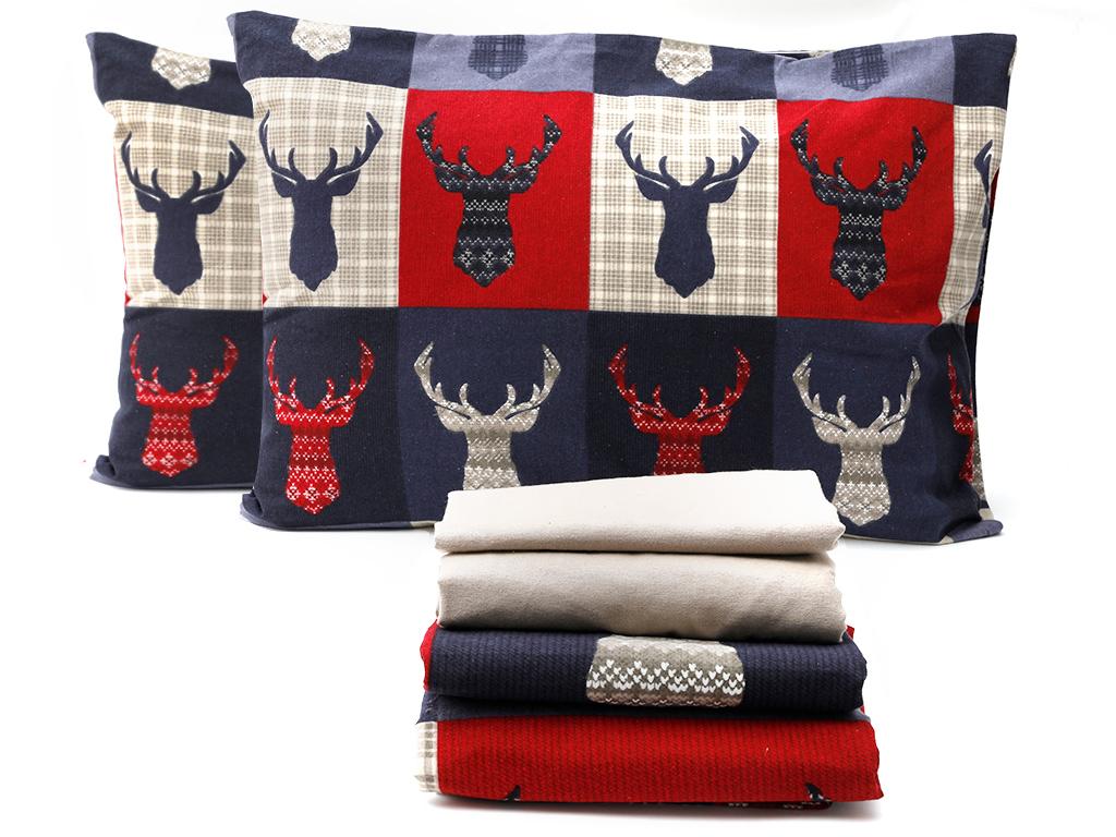 Patchy Deers Flanel Çift Kişilik Nevresim Takımı 200x220 Cm Koyu Mavi