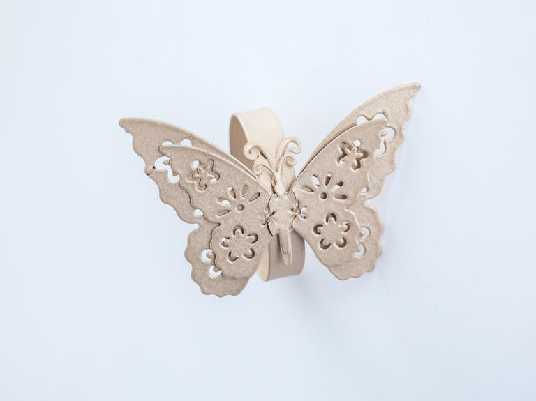 Butterfly Ferforje Tek Peçete Halkası 7,5x7,5x5,0 Cm Gold