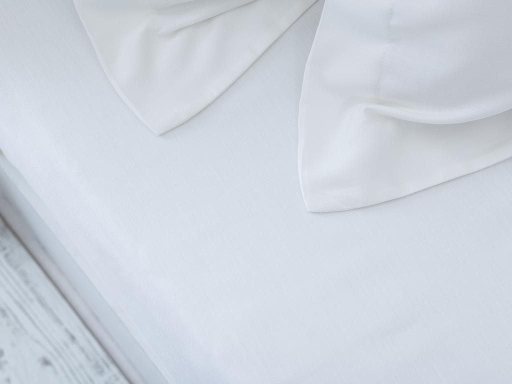 Düz Pamuk Saten Tek Kişilik Çarşaf 160x240 Cm Kırık Beyaz