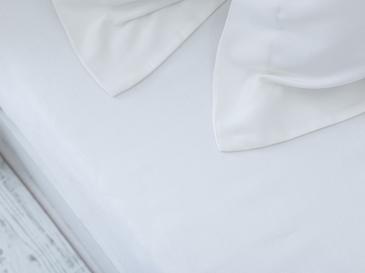 Düz Pamuk Saten Çift Kişilik Çarşaf 240x260 Cm Kırık Beyaz