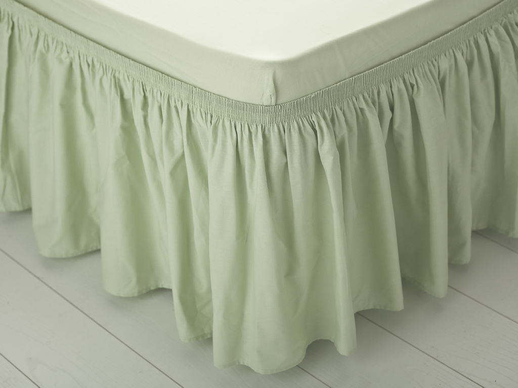 Düz Pamuklu Çift Kişilik Yatak Eteğı 40x800 Cm Yeşil