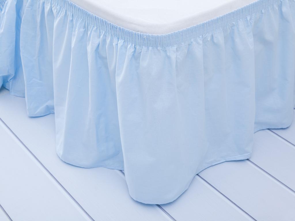 Düz Pamuklu Çift Kişilik Yatak Eteğı 40x800 Cm Açık Mavi