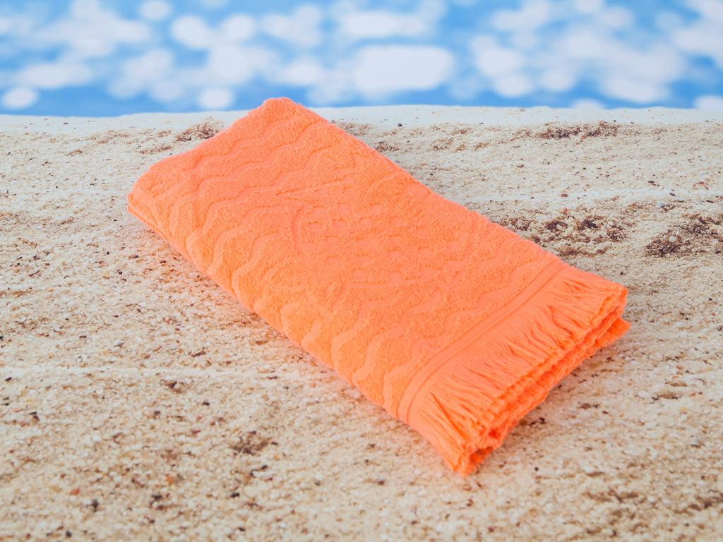 Fish Jakarlı Çocuk Plaj Havlusu 70x125 Cm Koral