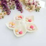 Flower Stoneware 5 Bölmeli Çerezlik 20,0x19,0x3,5 Cm Sarı