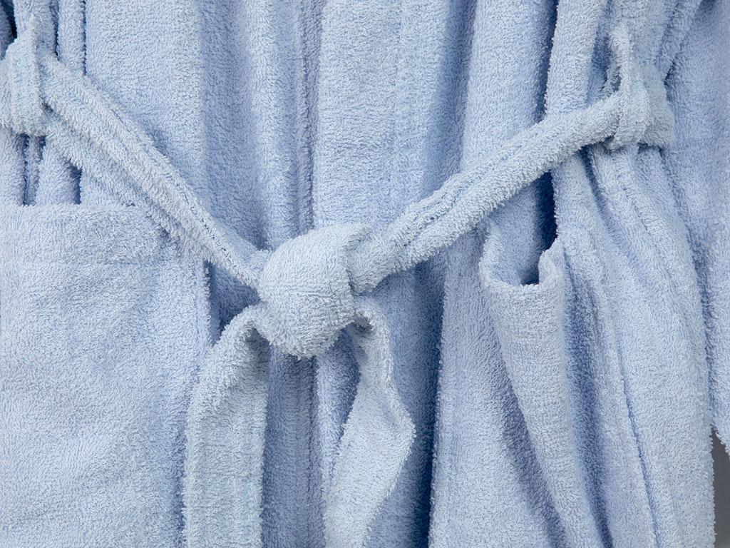 Plain Pamuklu Erkek Bornoz M Açık Mavi