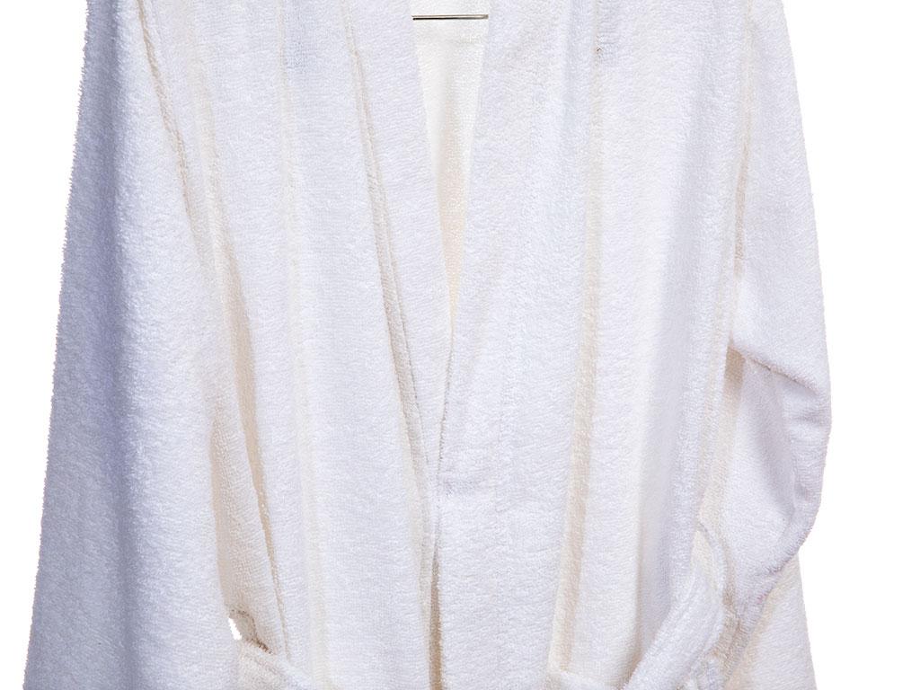 Plain Pamuklu Erkek Bornoz M Beyaz