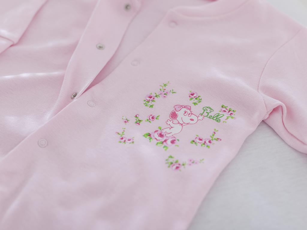 Rose Snoopy Pamuklu Uzun Kollu Bebe Tulum 9-12 Ay Pembe