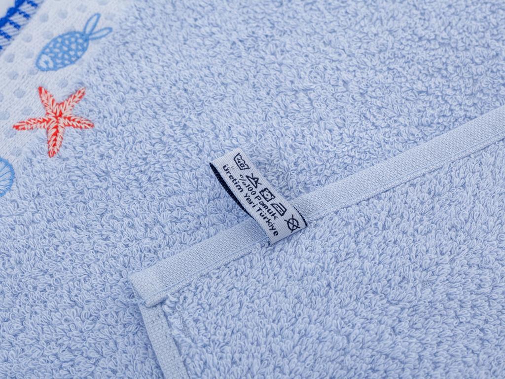 Alda Nakışlı El Havlusu 30x45 Cm Açık Mavi