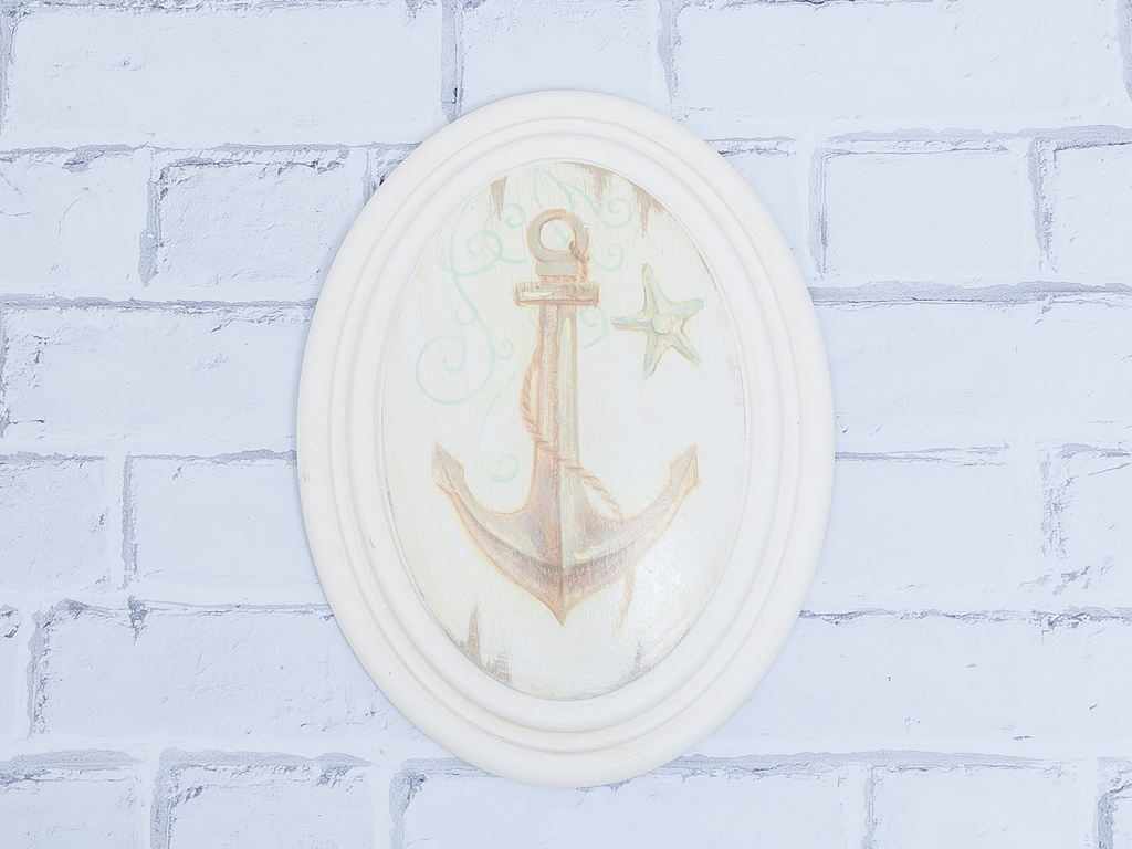 Anchor Mdf Oval Tablo 17x22x4 Cm Bej