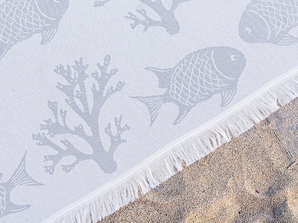 Sea Life İpliği Boyalı Plaj Havlusu 80x150 Cm Royal