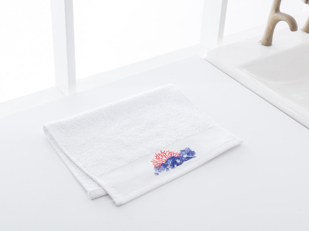 Sella Parça Baskılı El Havlusu 30x45 Cm Beyaz