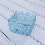 Shannon Tığ İşi Sepet 17x17x9 Cm Mavi