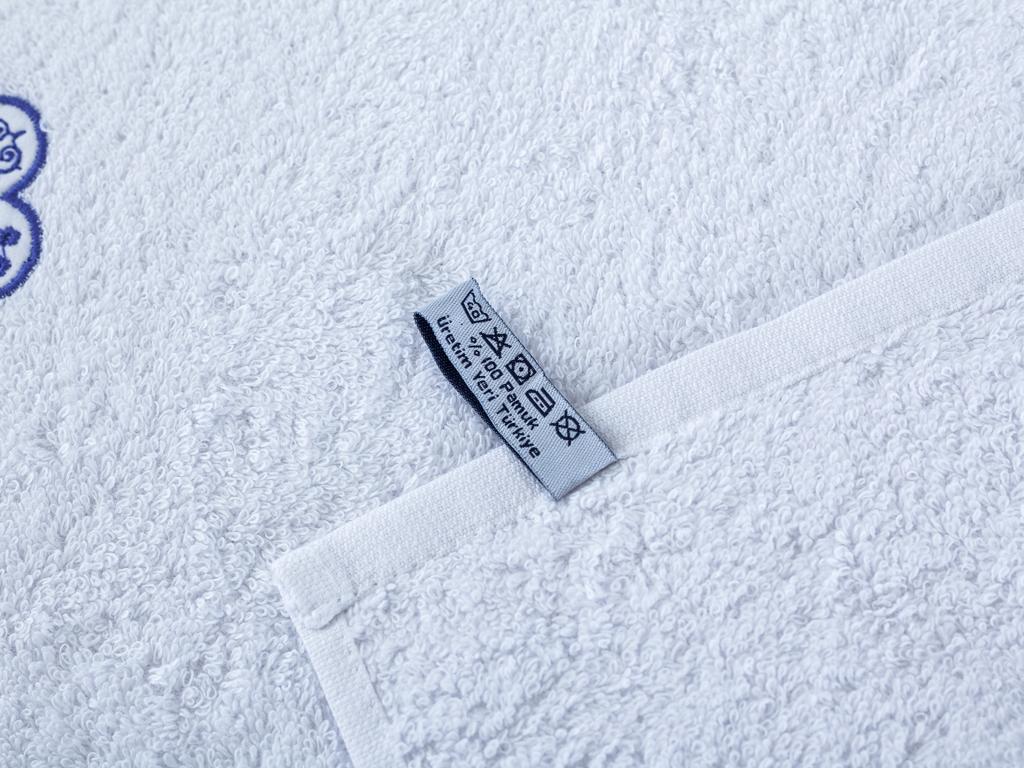Squd Nakışlı El Havlusu 30x45 Cm Beyaz