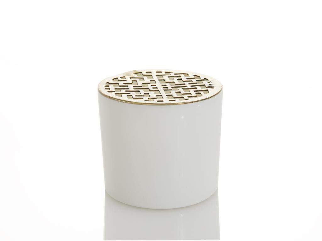 Scandinavian Seramik Kaplı Kokulu Mum 8,25x9,52 Cm Beyaz