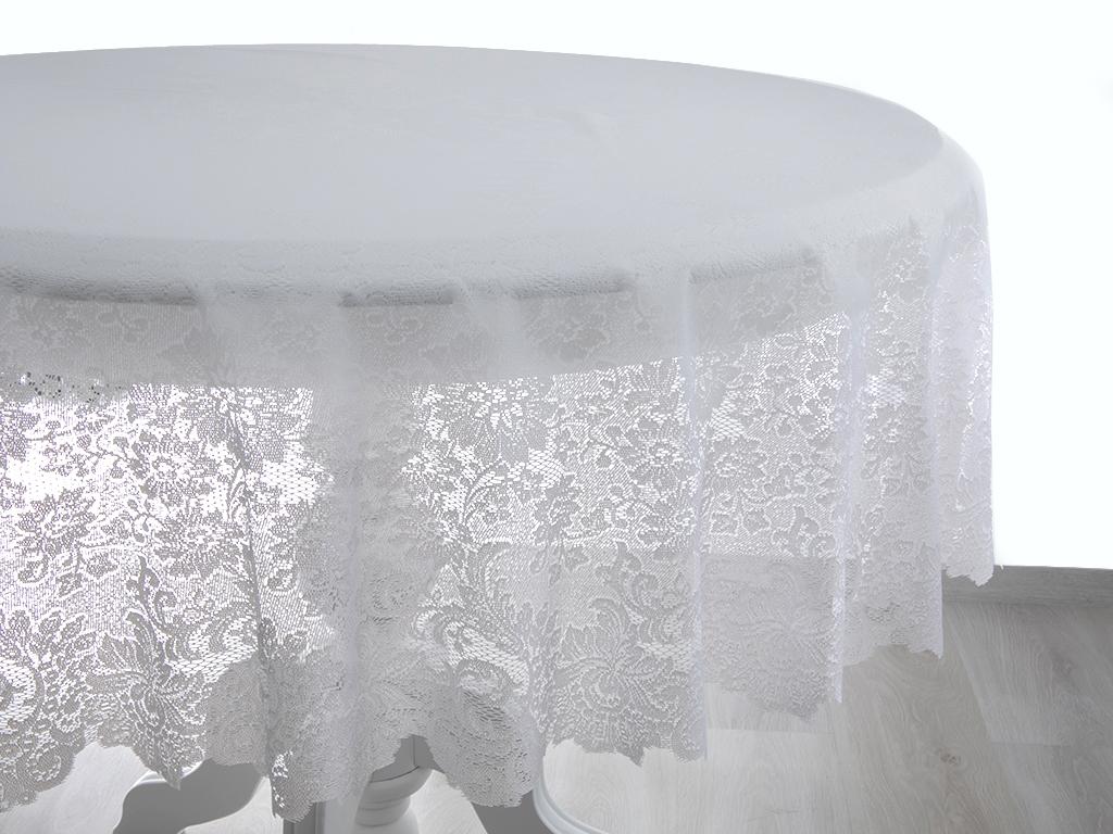 Big Rose Vinil Masa Örtüsü 178 Cm Beyaz