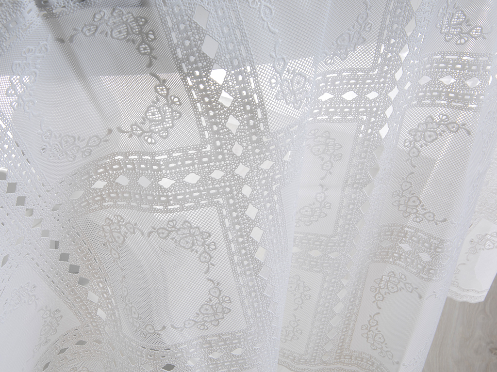 Patchwork Vinil Masa Örtüsü 178 Cm Beyaz