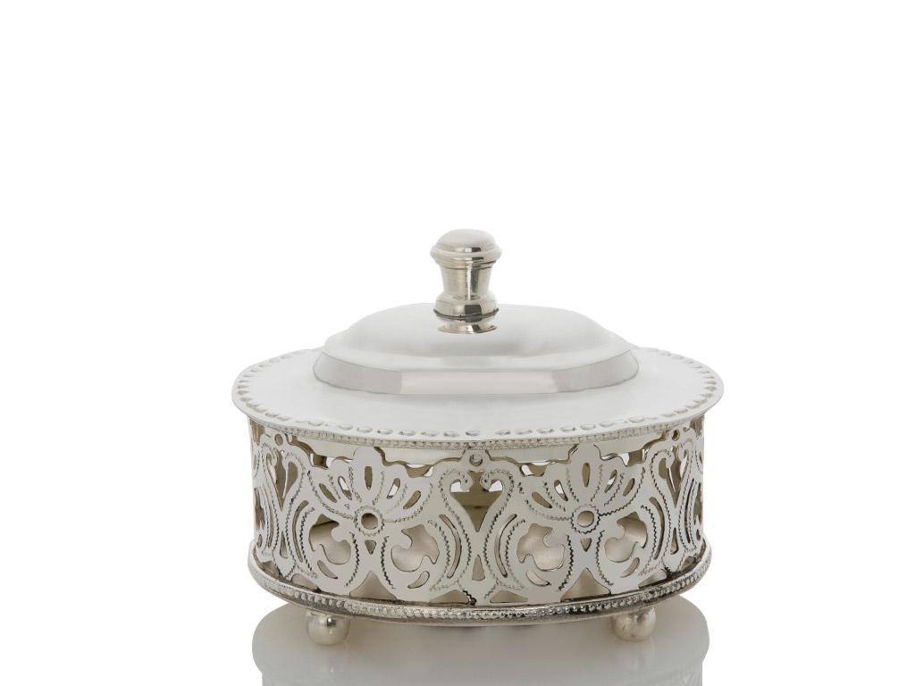 Elegant Gümüş Kaplama Kapaklı Dekoratıf Kutu 12,5x10 Cm Gümüş