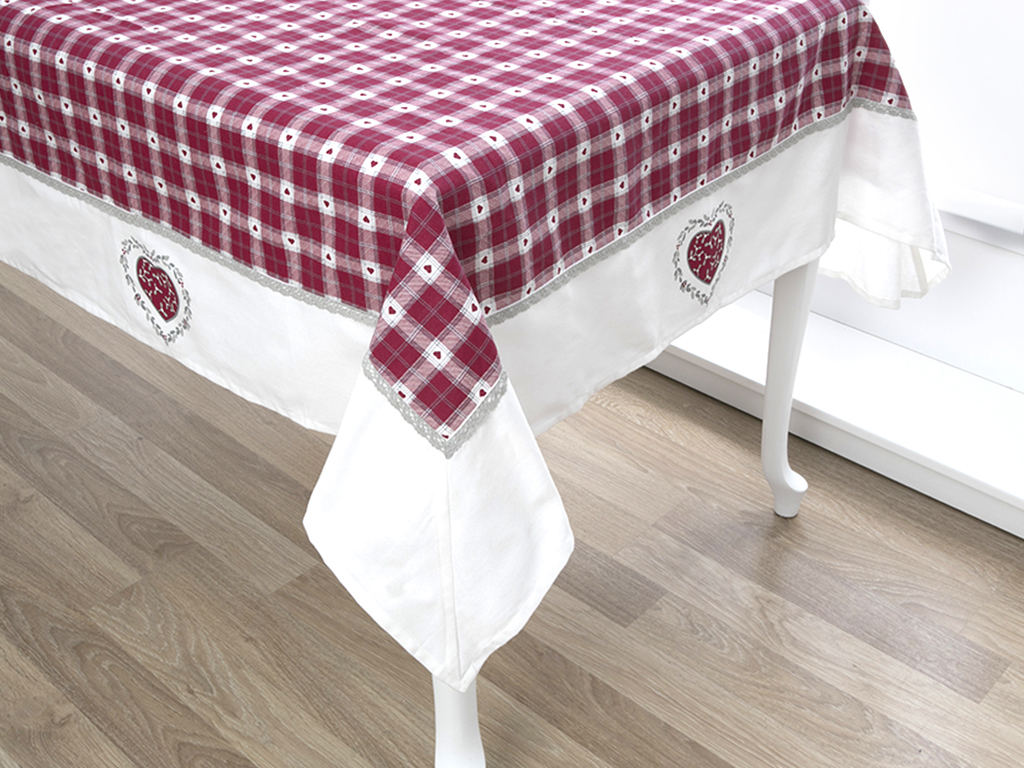 Loving Pamuklu Mutfak Masa Örtüsü 150x150 Cm Beyaz - Kırmızı
